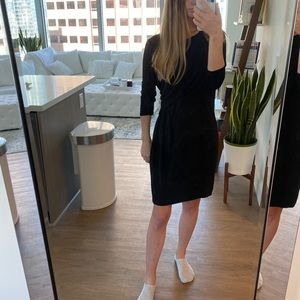 Black 3/4 sleeve knee work dress h&m twist front